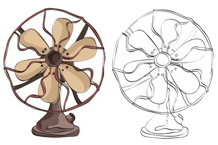 Vintage style hand drawn fan Illustration