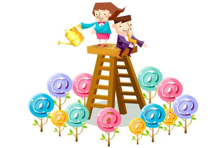 Business people characters on a ladder taking care of at symbol shaped trees