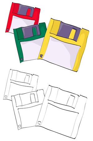 Vintage style hand drawn floppy disk Vektorové ilustrace