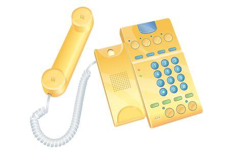 Isometric yellow telephone illustration