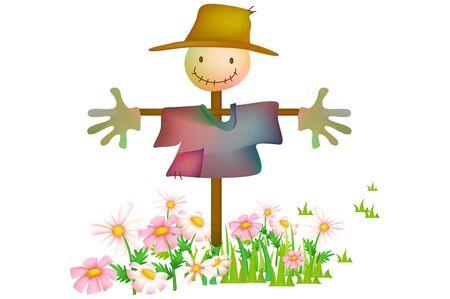 Scarecrow with flower garden