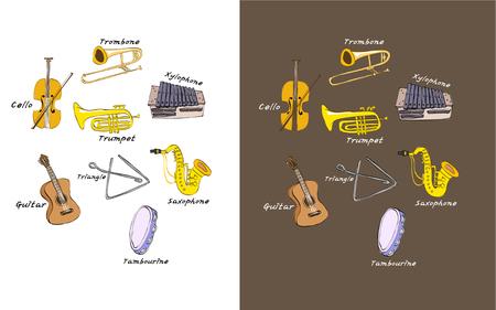 Due versioni del set di icone di strumenti musicali Vettoriali