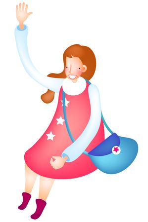 Beautiful woman greeting posing Ilustrace