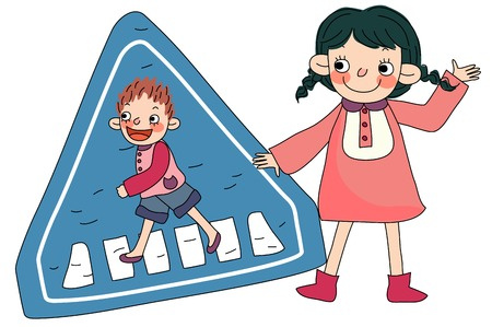 Children with road sign
