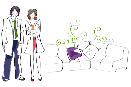 Doctors standing in the lobby Illustration