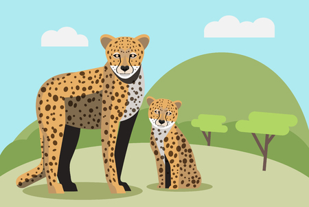 Cheetah in the wild Ilustrace