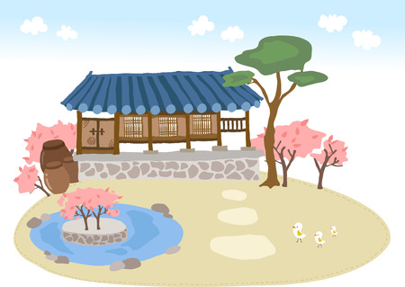 Korea traditional house with trees Çizim