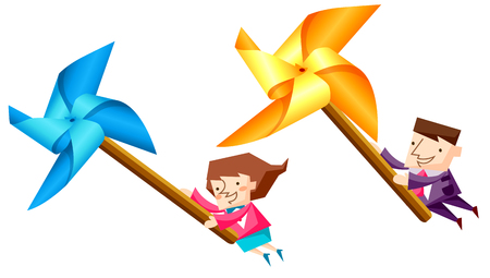 Business people characters riding pinwheels