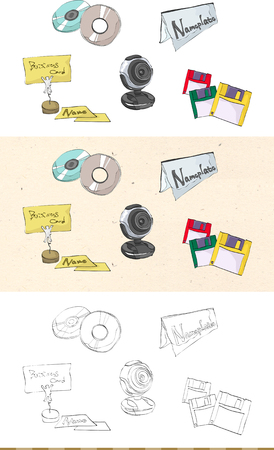 Set of vintage business monochromatic and colored icon