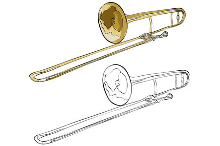 Vintage style hand drawn trumpet