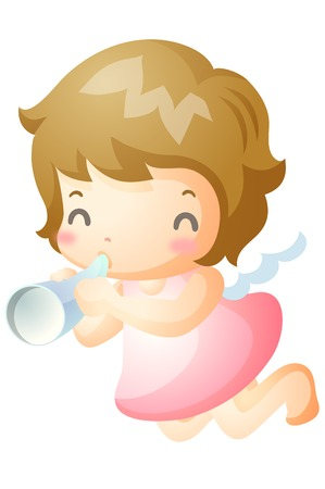 Girl in angel costume blowing bugle Illustration