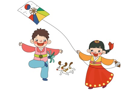 Children in Korea Traditional clothing playing Illustration