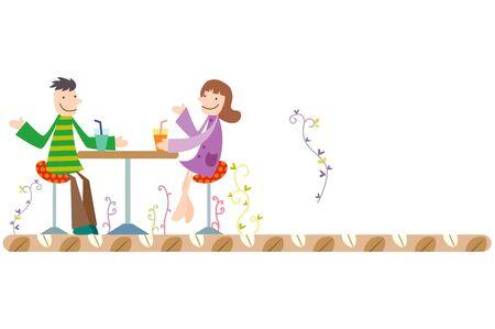 Happy couple drinking juice Illustration