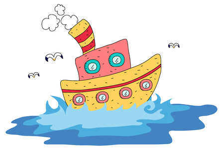 Cruise ship on the ocean illustration Illustration