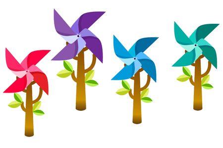 Colorful pinwheel trees