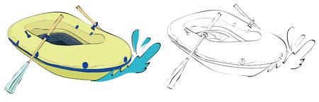 ビンテージ スタイル手描き空気中のボートと漕ぎポンプ