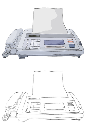 Vintage style hand drawn telephone and fax machine