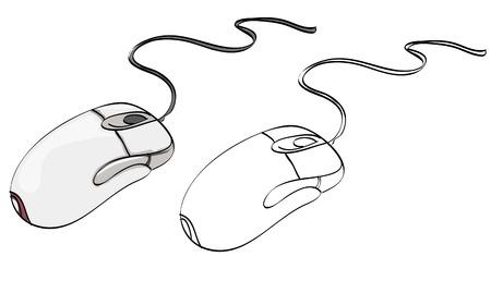 Gezeichnete Computermaus der Weinleseart Hand Vektorgrafik
