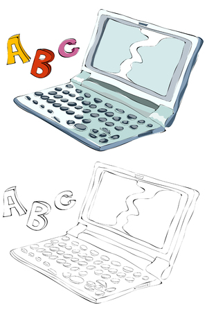 Vintage style hand drawn laptop with ABC letters