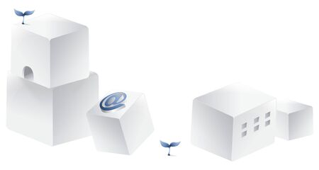 Boxes with at symbol and sprouts