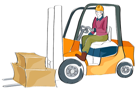 Warehouse worker operating the forklift