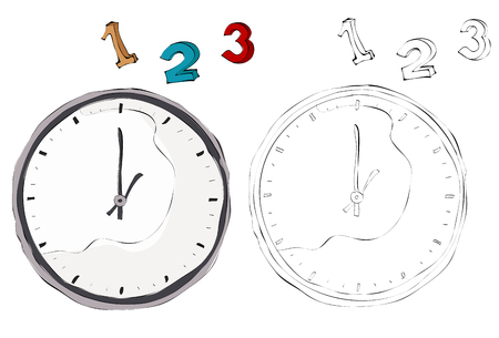 Vintage style hand drawn clocks with 1, 2, 3 numbers