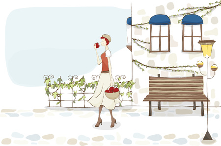 woman with apples Illustration
