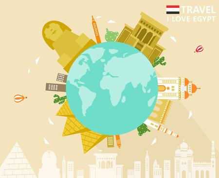 Egypt travel attraction on globe