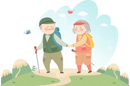 Old couple hiking mountain Vector illustration.