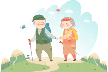 Old couple hiking mountain Vector illustration.