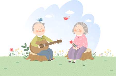 Old couple playing guitar Vector illustration. Stock Illustratie