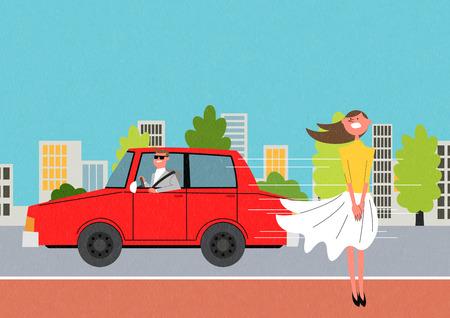 Traffic safety themed illustration, woman wearing skirt standing on sidewalk, and red car illustration. Ilustração Vetorial