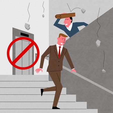 An earthquake scene, vector illustration.