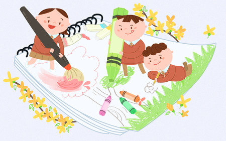 Children painting, drawing and coloring. Vector illustration.