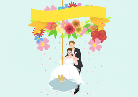 Newly weds, husband and wife on swing. Vector illustration.
