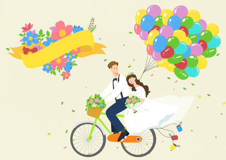 Husband and wife on a bike with flowers and balloons. Vector illustration.