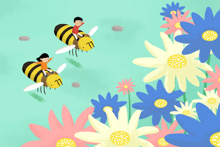 Happy Spring Children riding in bees.