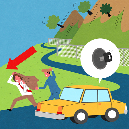 An earthquake scene, vector illustration.