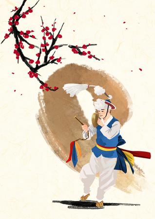 韓国の伝統的な音、ベクトル図。  イラスト・ベクター素材