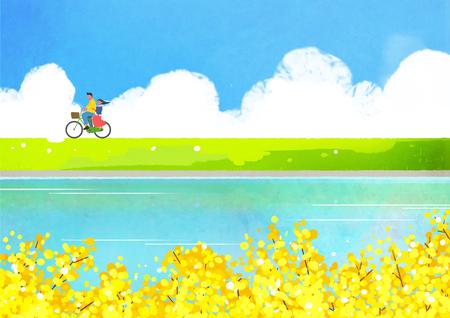 The scene of spring Vector illustration.