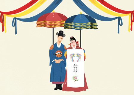 Korean wedding Vector illustration.