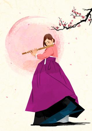 Koreaanse traditionele geluid Vectorillustratie.