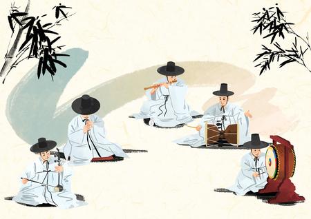 한국 전통 소리, 벡터 일러스트 레이 션.