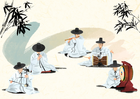 Korean traditional sound, vector illustration.