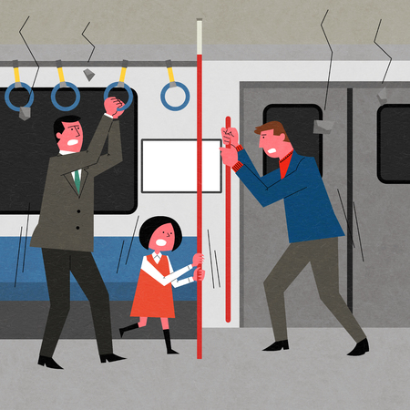 An earthquake, a fear men and child is holding the train pole.  イラスト・ベクター素材