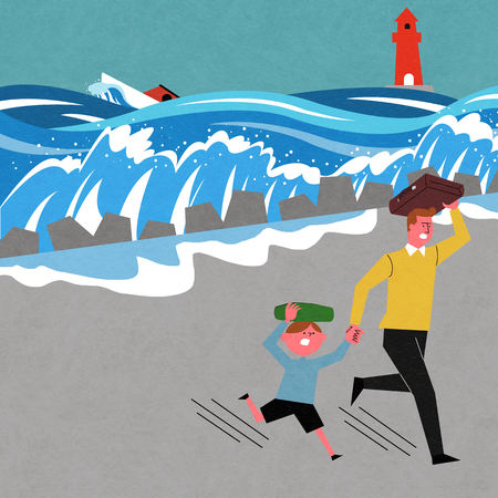 An earthquake, a fear dad and kid is running illustration. Vectores