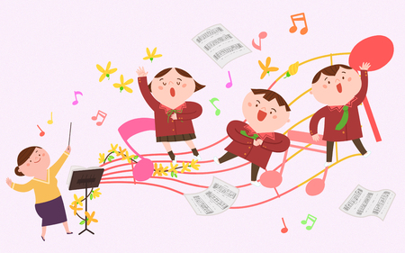 Children singing Vector illustration.
