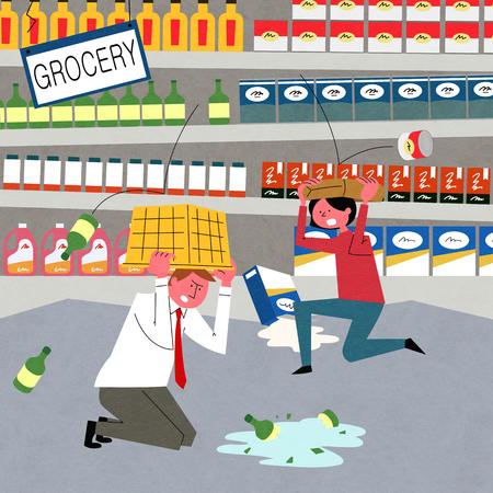Tremblement de terre, un homme et une femme de peur essaient de se couvrir la tête. Banque d'images - 91180137