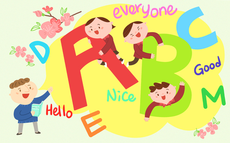 Children playing on letters and words, Vector illustration.