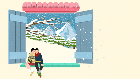 Outside the window, man and woman sitting with winter season. Illustration